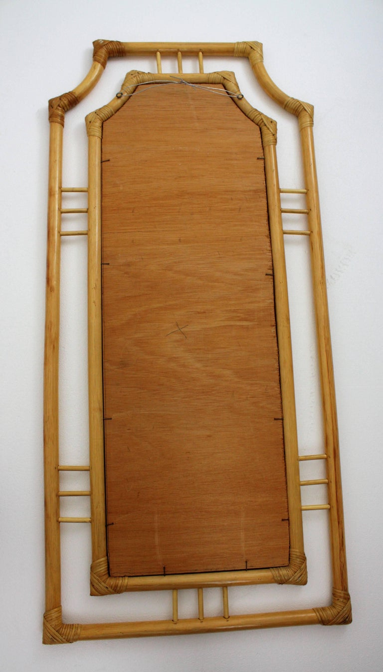 Large Chinoiserie Bamboo Rectangular Wall Mirror, Spain 1960s For Sale 1