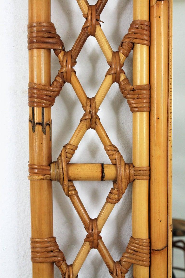 Mid-Century Modern Tiki Style Filigree Bamboo Mirror, Spain, 1960s 3