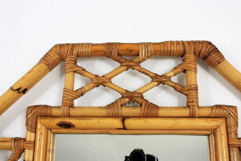 Mid-Century Modern Tiki Style Filigree Bamboo Mirror, Spain, 1960s In Excellent Condition For Sale In Barcelona, ES
