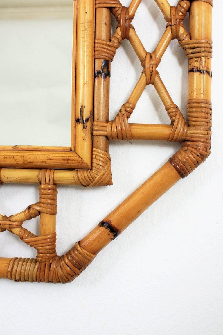Mid-Century Modern Tiki Style Filigree Bamboo Mirror, Spain, 1960s 6