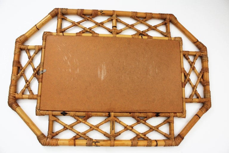 Mid-Century Modern Tiki Style Filigree Bamboo Mirror, Spain, 1960s For Sale 2