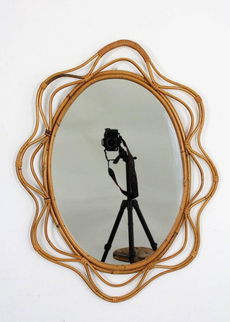 Unusual Spanish 1950s Handcrafted Rattan Wavy Decorative Mirror 2