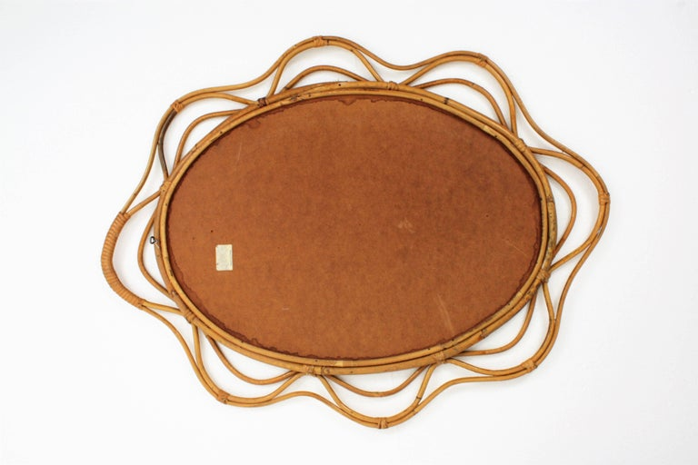 Unusual Spanish 1950s Hand-crafted Rattan and Bamboo Wavy Decorative Mirror For Sale 1