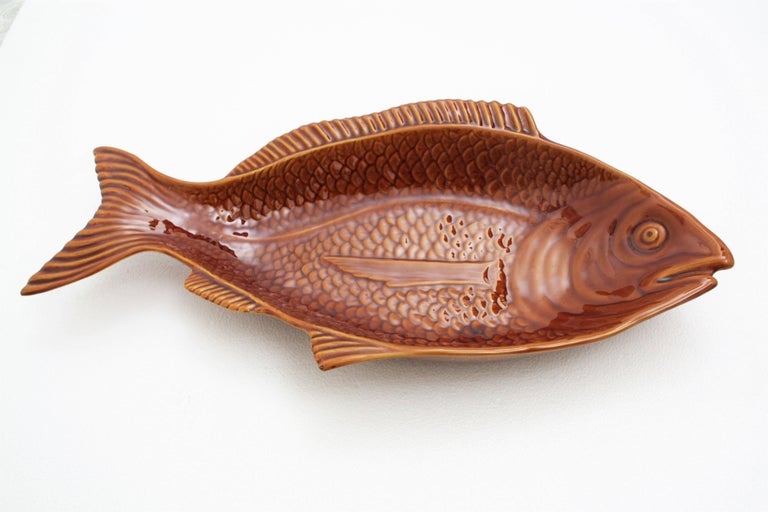 Mid-Century Modern Huge 1960s Portuguese Majolica Glazed Ceramic Fish Platter Manufactured by Secla For Sale