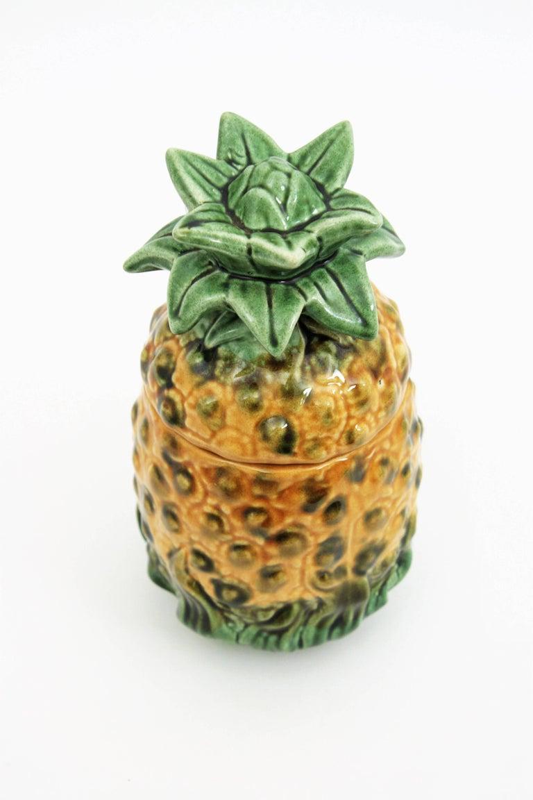 Portuguese 1960s Majolica Glazed Ceramic Pineapple