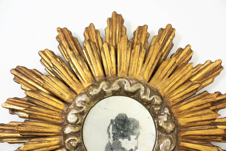 Gesso 1930s Baroque Style Double Layered Gold Leaf Giltwood & Silvered Sunburst Mirror For Sale
