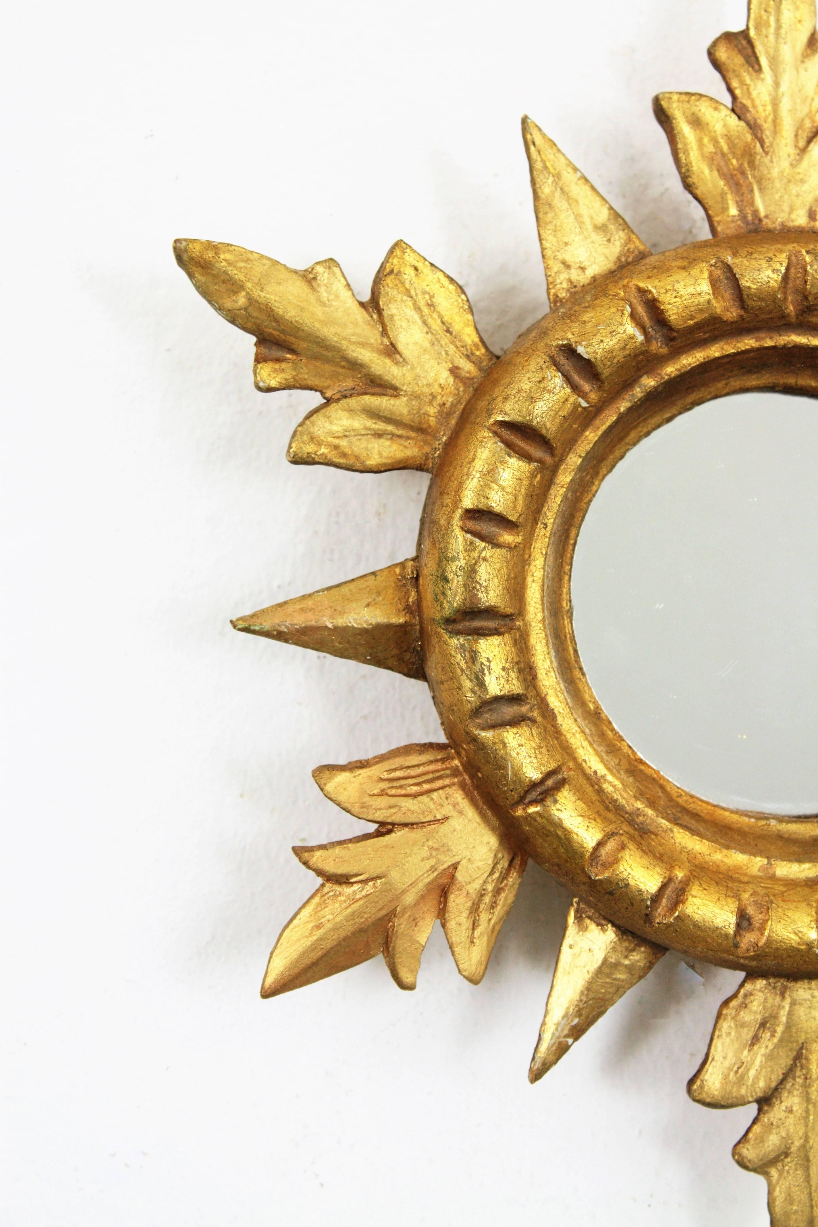 1960s Spanish Hollywood Regency Carved Giltwood Sunburst Mirror ...