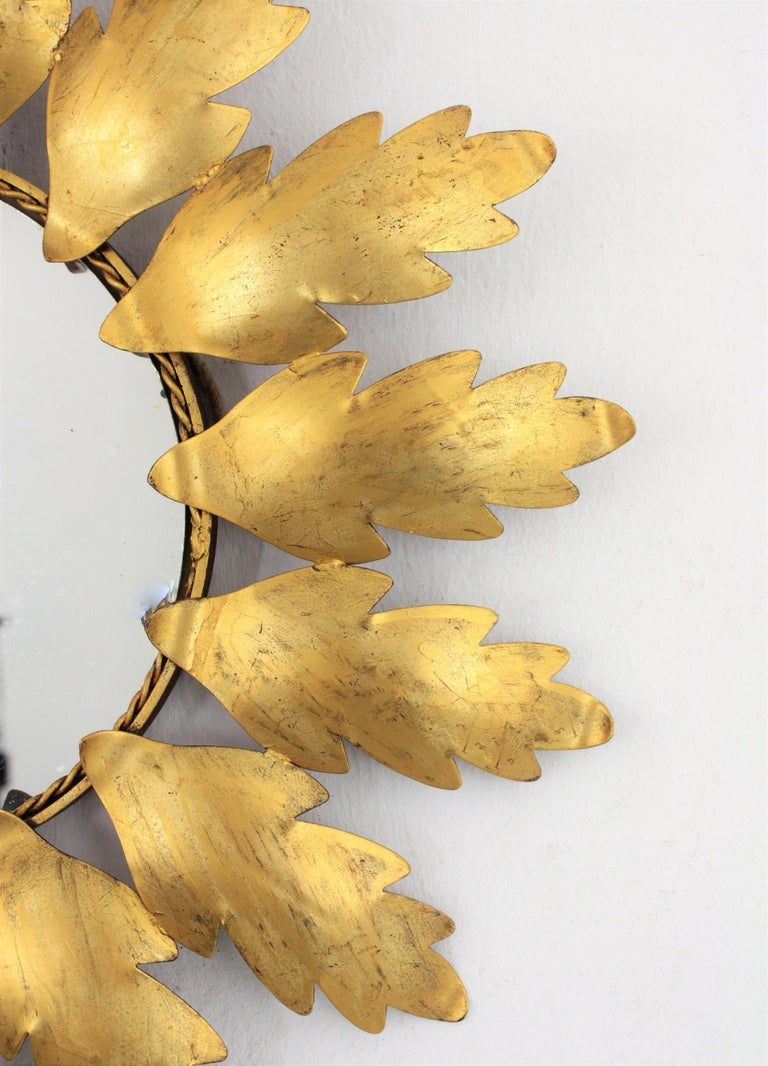 20th Century Mid-Century Modern Gilt Metal Flower Shaped Sunburst Mirror, Spain, 1960s For Sale