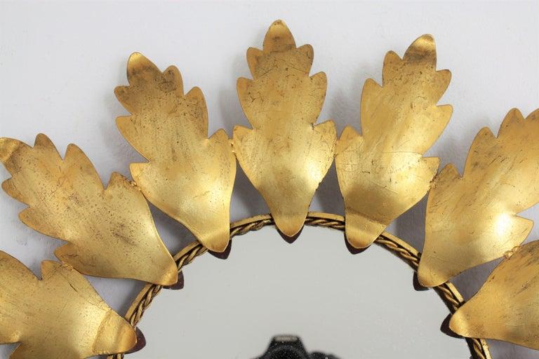 Mid-Century Modern Gilt Metal Flower Shaped Sunburst Mirror, Spain, 1960s For Sale 1