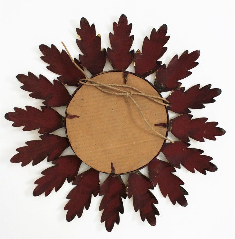 Mid-Century Modern Gilt Metal Flower Shaped Sunburst Mirror, Spain, 1960s For Sale 2
