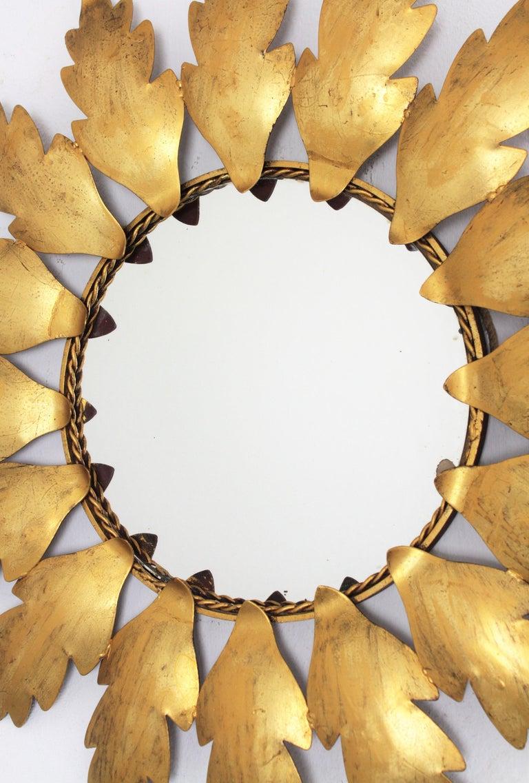 Spanish Mid-Century Modern Gilt Metal Flower Shaped Sunburst Mirror, Spain, 1960s For Sale