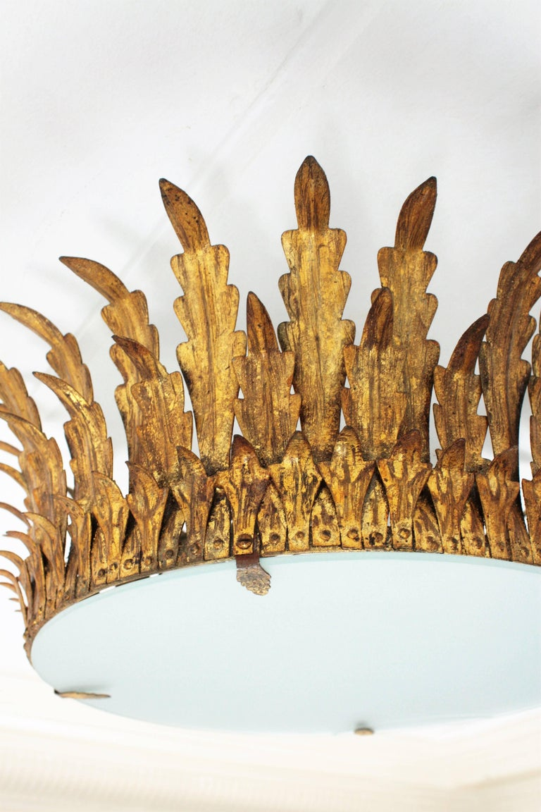 Large Gilt Iron & Glass Sunburst Crown Light Fixture or Chandelier, Spain 1940s In Excellent Condition For Sale In Barcelona, ES