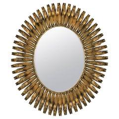 1950s Spanish Brutalist Gilt Iron Eyelashed Oval Sunburst Mirror