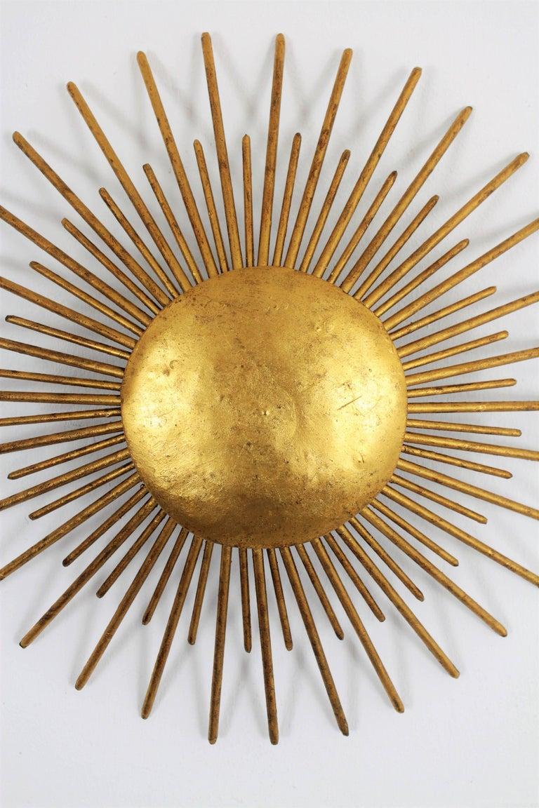 Art Deco Hand-Hammered Iron Gold Leaf Gilt Sunburst Light Fixture ...