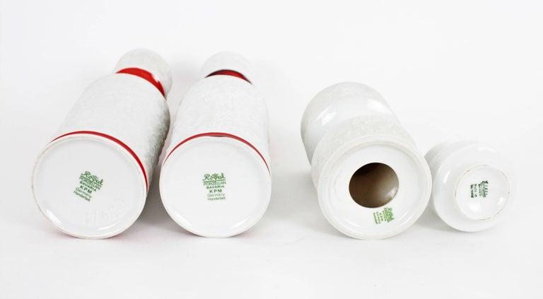 Set of German KPM Bavaria Porcelain Relief Unglazed White Vases and Glazed Vase For Sale 3