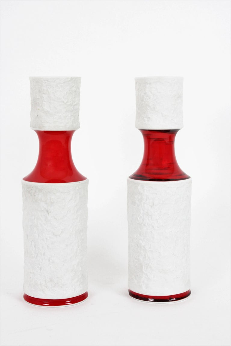 20th Century Set of German KPM Bavaria Porcelain Relief Unglazed White Vases and Glazed Vase For Sale