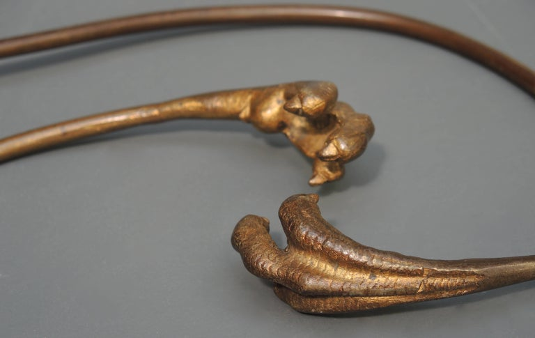 A most unusual and elegant pair of French Napoleon III curtain tiebacks in the form of falcon talons, circa 1850.