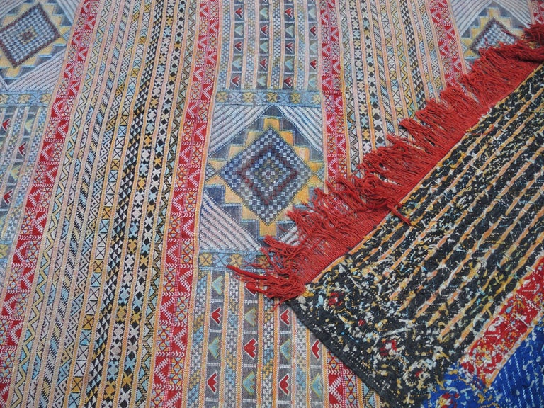 Bohemian Vintage Moroccan Silk and Wool Flat-Weave Kilim Carpet For Sale