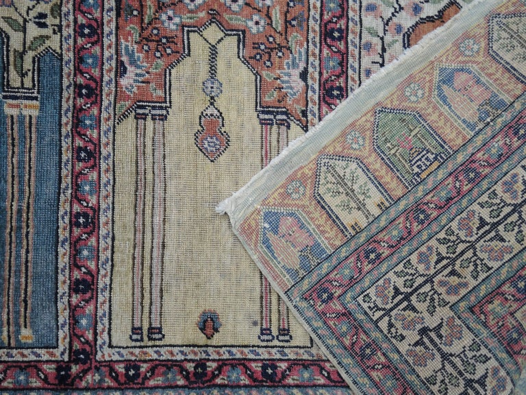 Antique Turkish Anatolian Kayseri Silk Rug with Architectural Arches and Pillars For Sale 1