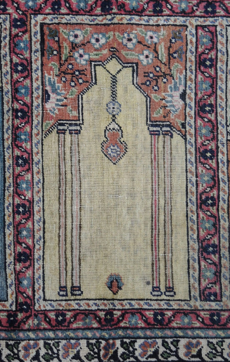 Hand-Knotted Antique Turkish Anatolian Kayseri Silk Rug with Architectural Arches and Pillars For Sale