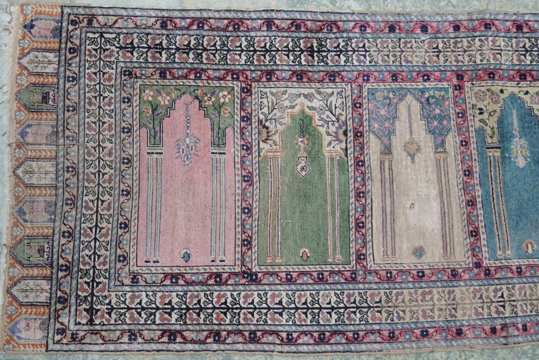 20th Century Antique Turkish Anatolian Kayseri Silk Rug with Architectural Arches and Pillars For Sale