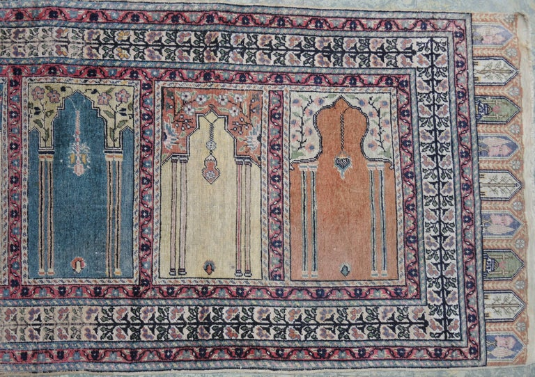 Cotton Antique Turkish Anatolian Kayseri Silk Rug with Architectural Arches and Pillars For Sale