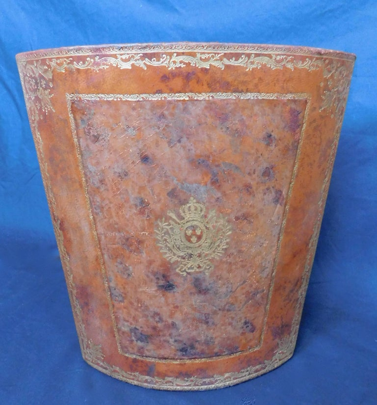 20th Century Vintage French Waste Paper Basket leather with Gold Embossed Decoration For Sale