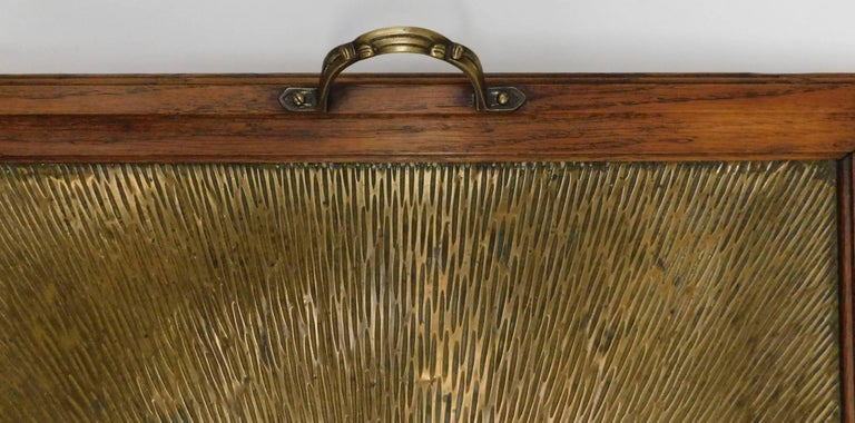 1920's Belgian Brass and Oak Art Deco Tray with Sunburst Design In Good Condition For Sale In Antwerp, BE