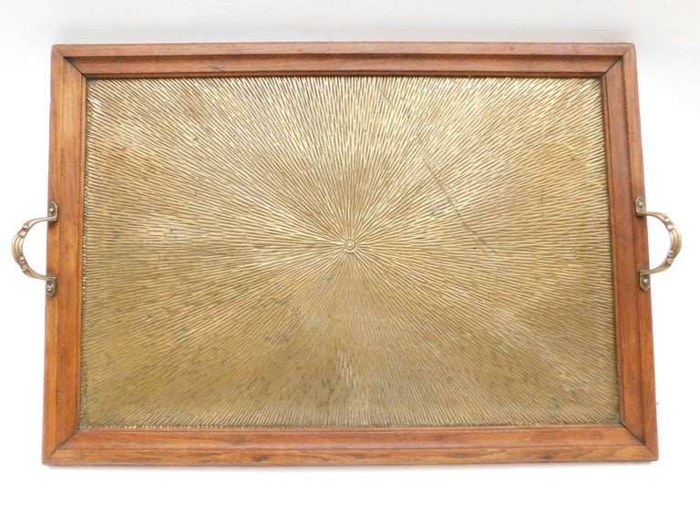 Early 20th Century 1920's Belgian Brass and Oak Art Deco Tray with Sunburst Design For Sale