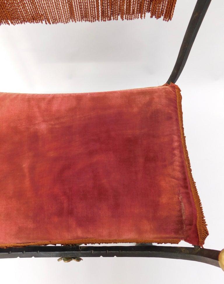 19th Century Spanish Wrought Iron and Brass Savonarola Chair For Sale 3