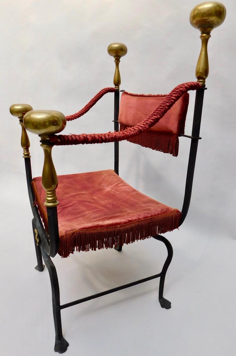 19th Century Spanish Wrought Iron and Brass Savonarola Chair For Sale 1