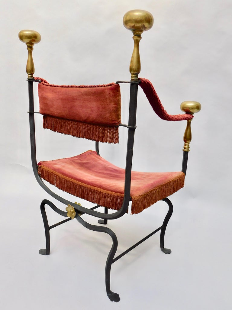 19th Century Spanish Wrought Iron and Brass Savonarola Chair In Good Condition For Sale In Antwerp, BE