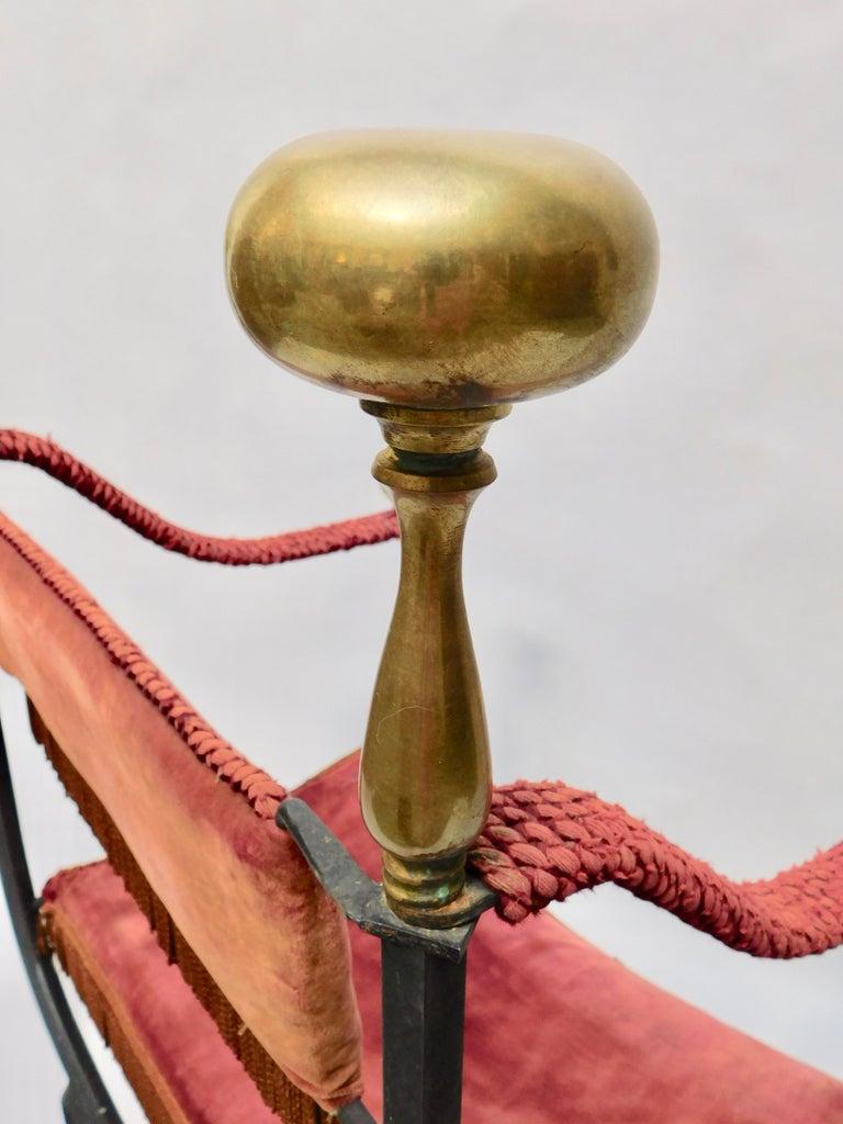 19th Century Spanish Wrought Iron and Brass Savonarola Chair For Sale 4
