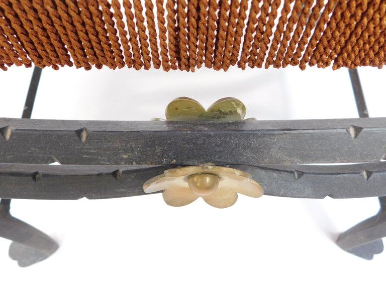 19th Century Spanish Wrought Iron and Brass Savonarola Chair For Sale 6