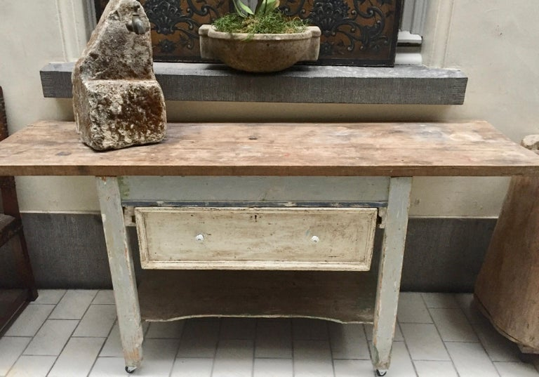 German country kitchen work table circa 1890-1910. The base has one very deep drawer ( with the original porcelain knobs) which was used to place dough to rise, but is now the perfect place for pots, measuring cups and baking dishes. The base has