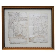 Two 18th Century Flemish Framed Documents