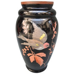 French Art Deco Black Glass Vase with Hand Painted Bird Design