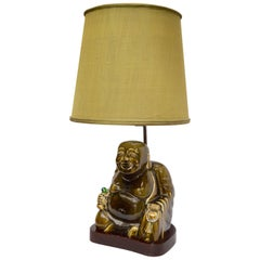 Imposante Hollywood Regency Porzellan Buddha Tisch Lampe Stil von James Mont