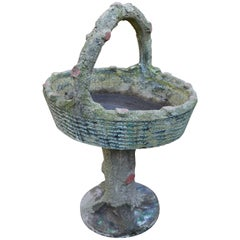 Vintage French Cast-Stone Faux Bois Basket Planter on Stand