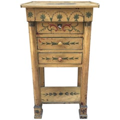19th Century Austrian Side Table with Three-Drawers and Paintings of Angels