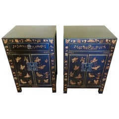 Pair of Chinese Black Lacquer Chinoiserie Bed Side Cabinets or Nightstands