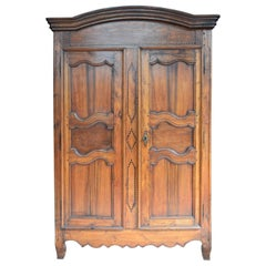 Period Louis XV French Wild Cherry Armoire, circa 1790
