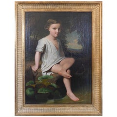 English Regency Painting of a Young Boy Sitting at a Pond, circa 1820