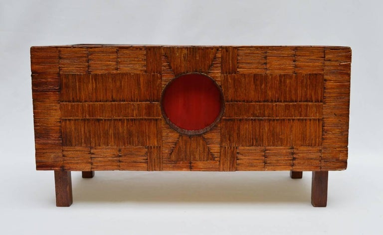 Tole lined French planter covered with a geometric inlaid design completely made from used wood match sticks. This genre of Folk Art is referred to as