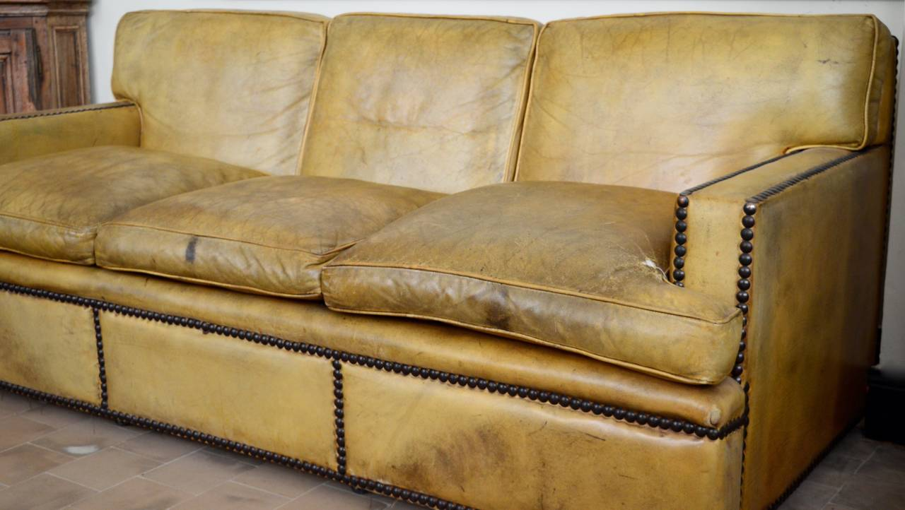 English Georgian Style Leather Sofa with Large Brass Nailhead Edging ...
