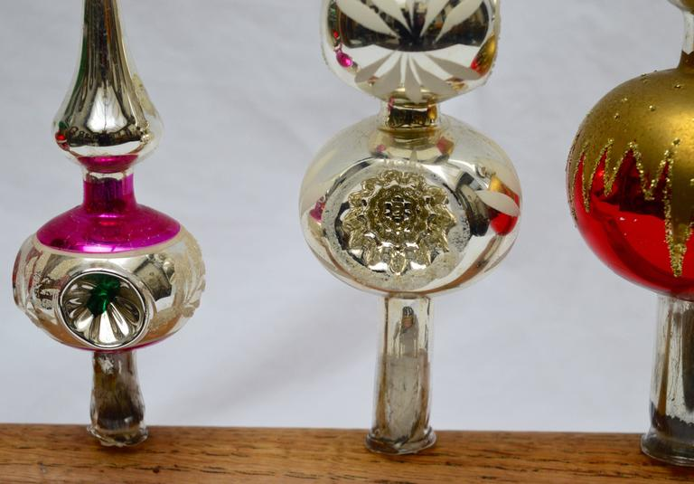 Collection Of Five Midcentury Mercury Glass Christmas Tree