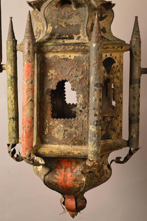 Hand-Crafted Early 18th Century French Tole Lantern Retaining the Original Paint For Sale