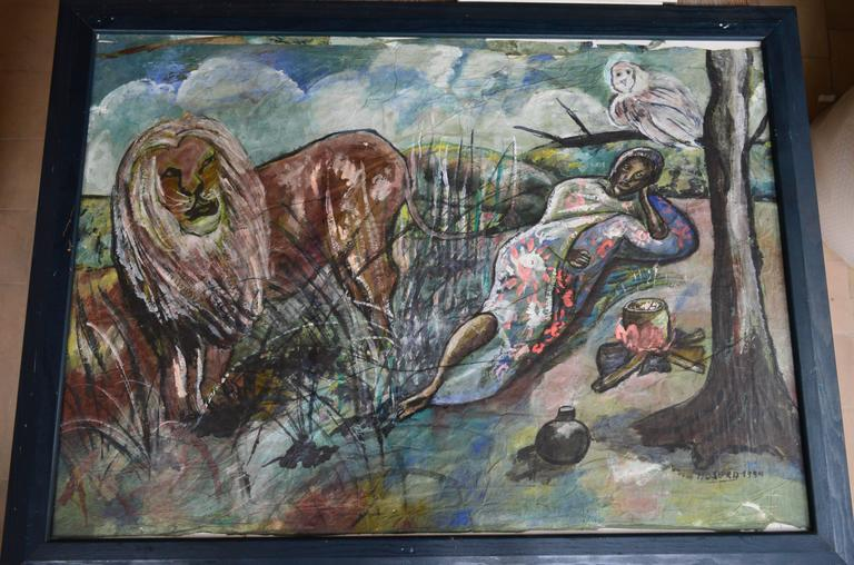 Painting by the Belgian African Female Artist Moseka Yogo Ambake For Sale 2