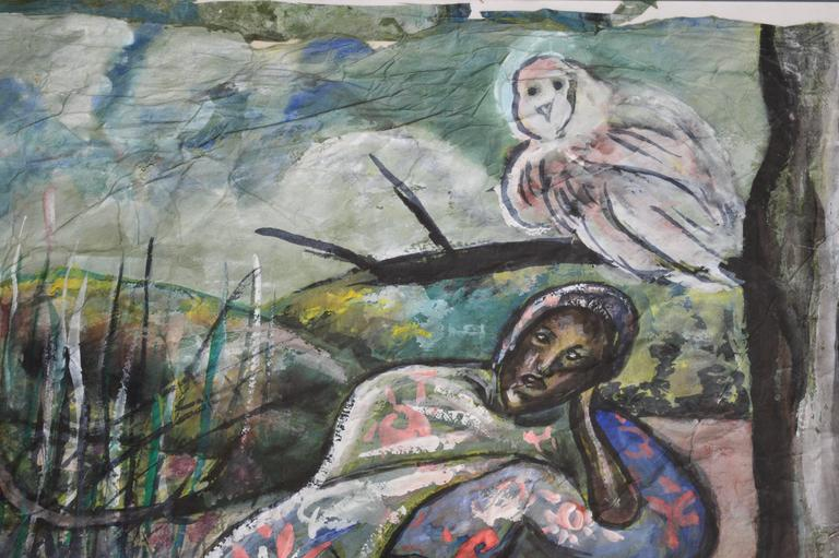 20th Century Painting by the Belgian African Female Artist Moseka Yogo Ambake For Sale