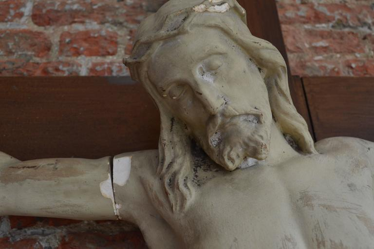 Belgian Over 6' Tall 19th Century Flemish Crucifix  For Sale